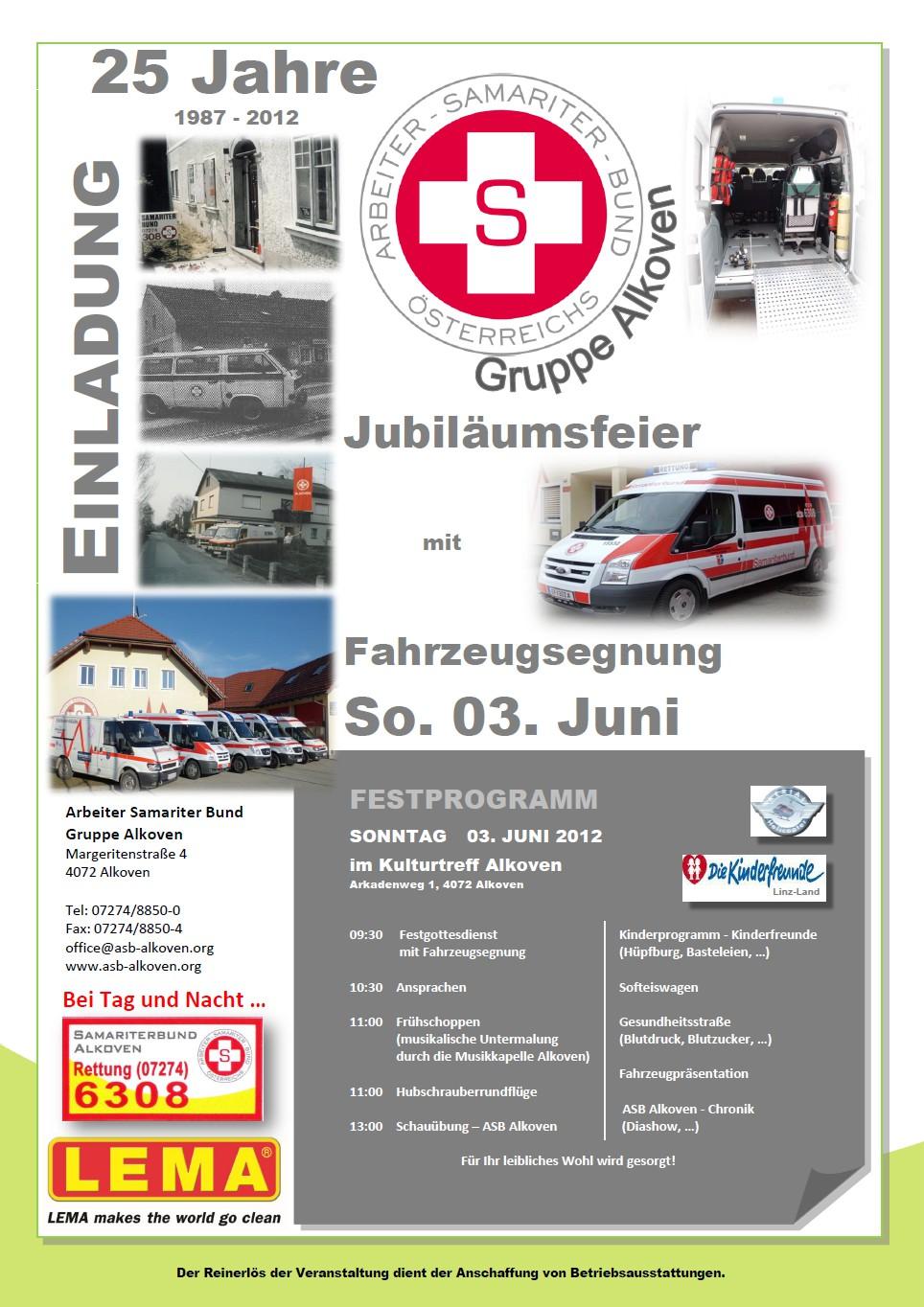 Einladung 25 Jahre Samariterbund Alkoven